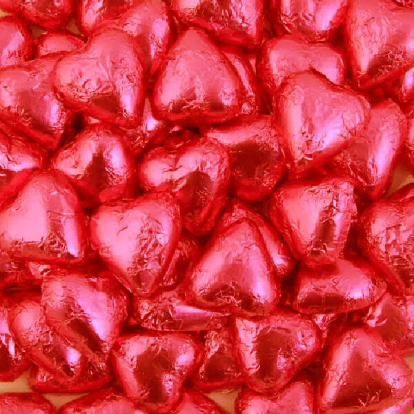 Red Milk Chocolate Hearts