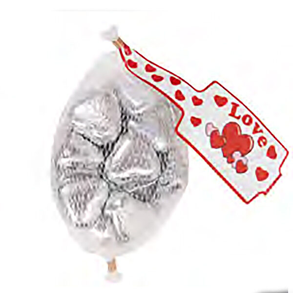 Silver Milk Chocolate Hearts In Mesh Bags
